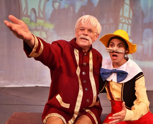 Jaddy Ciucci as Pinocchio and Ken Klingenmeier as Geppetto in <br>'Pinocchio,' on stage Fridays and Saturdays through Nov. 11.