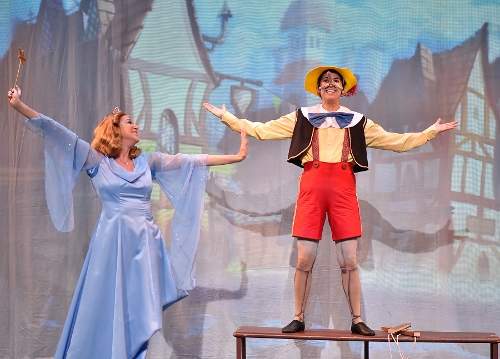 Christine Zavakos as the Blue Fairy and Jaddy Ciucci as Pinocchio in 'Pinocchio,' on stage Fridays and Saturdays through Nov. 11.