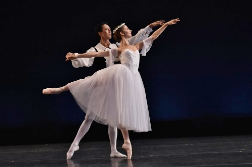 "Nurlan Abougaliev and Lüna Sayag in Michel Fokine's ""Les Sylphides."""