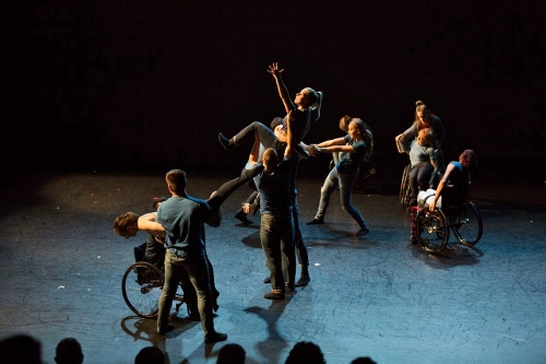 "Dancing Wheels dancers in David Dorfman's ""Imagine, If you will…"""