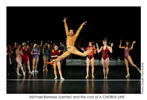 Michael Baresse (center) and the cast of A Chorus Line