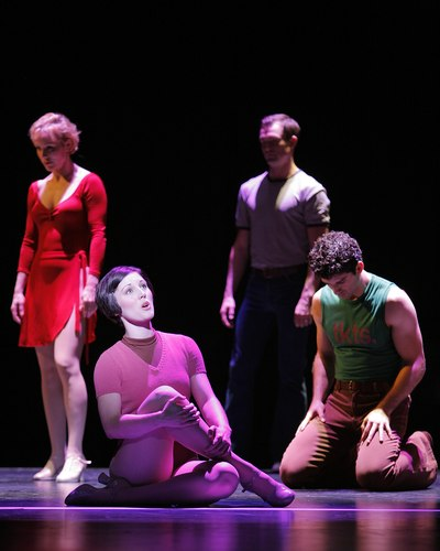 Charlotte d'Amboise, Mara Davi, Brad Anderson and Tony Yazbeck in A Chorus Line