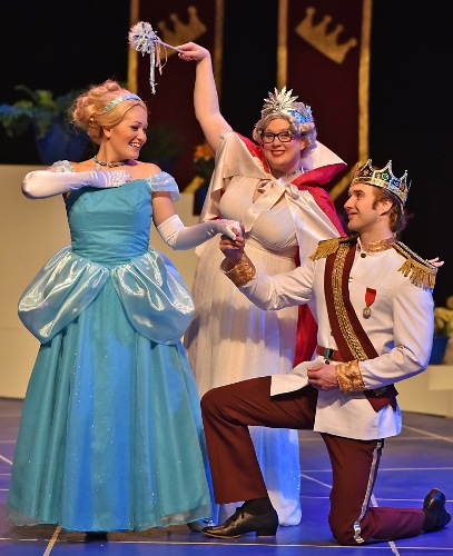The Fairy Godmother (Rebecca DeVries McConnell), center, is pleased with herself for transforming Cinderella (Emily Hollowell) into the perfect princess for Prince Charming (Will Leonard) in Beef & Boards Dinner Theatre's production of Cinderella, now on stage through March 17. The first show of the 2018 Live Theatre for Kids series presented by the Pyramid Players, this adaptation of the classic tale is told in a fast-paced, tuneful comedy. Pyramid Players productions are one hour in length and presented without intermission. Performances are for all ages, but offered particularly for children in preschool through sixth grade. Children have the opportunity to meet the cast after each show for pictures and autographs. Performances take place at 10 a.m. on Fridays and at 10 a.m. and 1 p.m. on Saturdays. All tickets are $16.50 and include a snack. For reservations, contact the box office at 317.872.9664. For more information or complete show schedule, visit www.beefandboards.com.