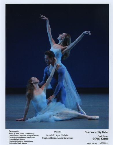 Kyra Nichols, Stephen Hanna and Maria Kowroski in NYCB's Serenade