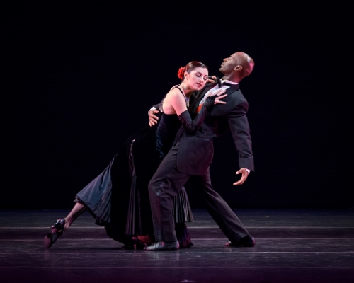 """Verb Ballets' Kate Webb and Omar Humphrey in Heinz Poll's """"Eight by Benny Goodman""""."""