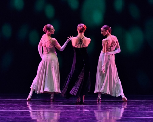 "(L-R) Verb Ballets' Christina Lindhout, Kate Webb and Kelly Korfhage in Heinz Poll's ""Eight by Benny Goodman""."