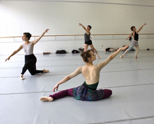 Indianapolis Ballet dancers in a rehearsal of 'Éclat!' -Katherine Sawicki (front), Sarah Marsoobian (left), Rowan Allegra (back center), Abigail-Rose Crowell (back right)