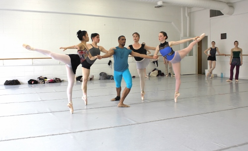 Indianapolis Ballet dancers in a rehearsal of 'Éclat!' - (left to right) Abigail Bixler, Rowan Allegra, Khris Santos, Abigail-Rose Crowell, Loretta Williams.