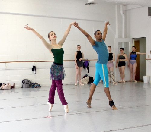Indianapolis Ballet dancers in a rehearsal of 'Éclat!' - Khris Santos and Katherine Sawicki.