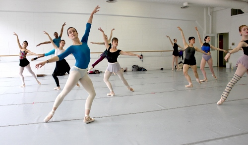 Indianapolis Ballet dancers in a rehearsal of '&Eacute;clat!' - (left side) Abigail Bixler, Khris Santos, Sarah Marsoobian, Jessica Miller, Katherine Sawicki (leaping, partially blocked), Abigail Rose Crowell<br>(Right side) Elaine Rand, Rowan Allegra, Loretta Williams, Camila Ferrera.