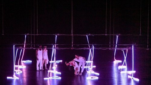 BODYTRAFFIC performing at the Wallis Annenberg Center for the Performing Arts May 31, 2018. Fragile Dwellings. Choreography: Stijn Celis. (l-r) Jamal White, Natalie Leibert, Jessica Liu, Joseph Davis.