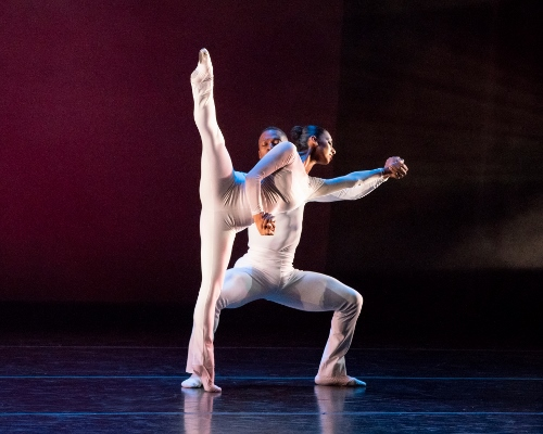 "Philadanco's Victor Lewis Jr. and Rosita Adamo in Thang Dao's ""Folded Prism""."