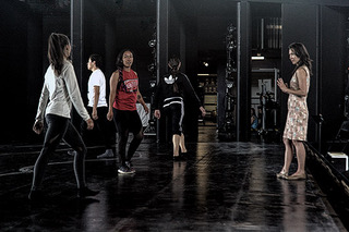 """Dr. Atomic"" choreographer, Emily Johnson, instructs her dancers."