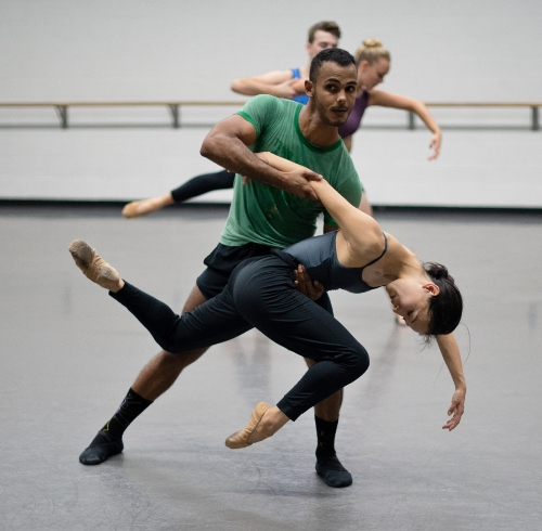 Grand Rapids Ballet dancers Ednis Gomez and Yuka Oba rehearsing Trey McIntyre's 'Wild Sweet Love'.