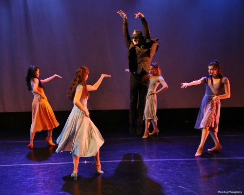 (L to R) Abigail Bixler, Jessica Miller, Riley Horton, Rowan Allegra & Sierra Levin performing Aspects of Andy, featuring the choreography of Joshua Bergasse, during Indianapolis Ballet's 'New Works Showcase'.