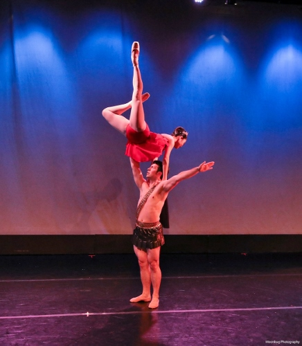Yoshiko Kamikusa and Christopher Lingner performing Diana & Actaeon, featuring choreography by Agrippina Vaganova, during Indianapolis Ballet's 'New Works Showcase'.