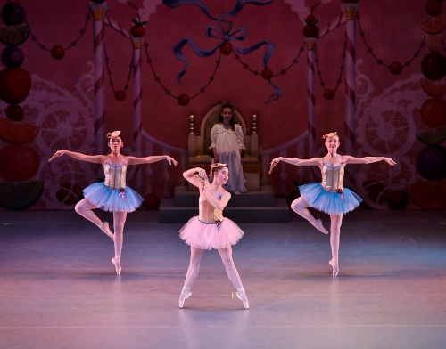 (L to R) Abigail Bixler, Rowan Allegra and Caroline Rettig perform German Marzipan during Act 2 of Indianapolis Ballet's 'The Nutcracker.'