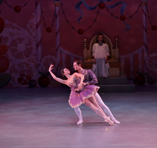 Kristin Toner and Riley Horton as Sugar Plum Fairy and Cavalier during the Act 2 of Indianapolis Ballet's 'The Nutcracker.'