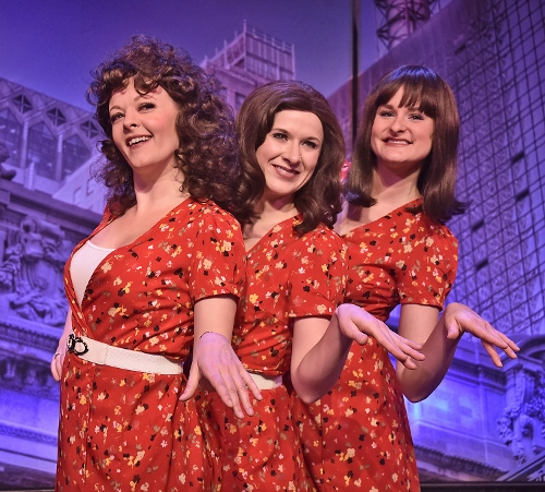 Sonia (Sarah Hund), left, receives guidance and motivation from her voices (Lauren Morgan and AnnaLee Traeger) in Beef & Boards Dinner Theatre's production of They're Playing Our Song. On stage through Feb. 3, the Neil Simon and Marvin Hamlisch romantic musical comedy opens Beef & Boards' 46th Season.