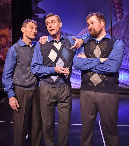 Vernon (David Schmittou), center, finds support from his inner voices (Doug King and Peter Scharbrough) in Beef & Boards Dinner Theatre's production of They're Playing Our Song. On stage through Feb. 3, the Neil Simon and Marvin Hamlisch romantic musical comedy opens Beef & Boards' 46th Season.