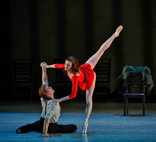 Kristin Toner (Carmen) and Shea Johnson (Don José) in Carmen, part of Indianapolis Ballet's production Love is in the Air, performed Feb. 15-17 at The Tobias Theater at Newfields.