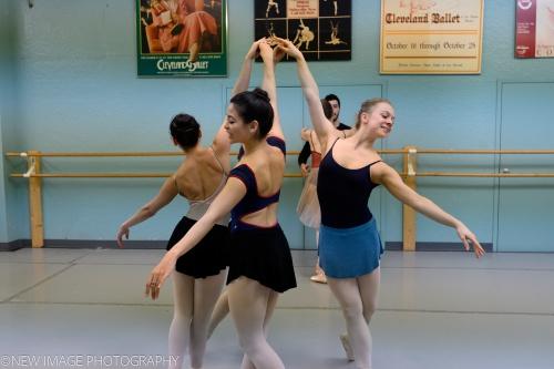 Cleveland Ballet dancers rehearsing Coppélia.