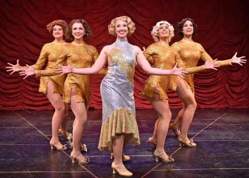 "Peggy Sawyer (Kayle Verble) makes her debut in ""Pretty Girl"" in 42nd Street at Beef & Boards Dinner Theatre. The Tony Award-winning musical is now on stage through May 19."