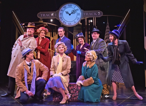 "Peggy Sawyer (Kayle Verble), center, is surrounded by her cast mates, the director, and writers of ""Pretty Lady,"" as they try to persuade her to come back and star in the show in 42nd Street at Beef & Boards Dinner Theatre. The Tony Award-winning musical is now on stage through May 19."