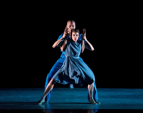 Alvin Ailey American Dance Theater's Ghrai DeVore (front) and Jeroboam Bozeman in Jamar Roberts' 'Members Don't Get Weary'.