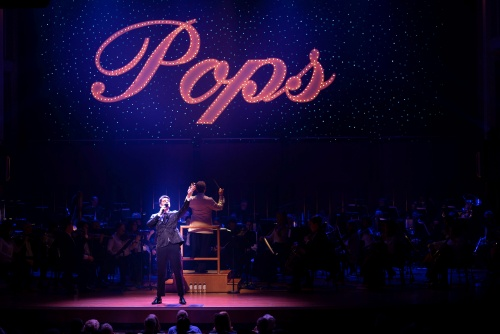 """Singer Ben Crawford with the Indianapolis Symphony Orchestra in """"Broadway & Beyond""""."""