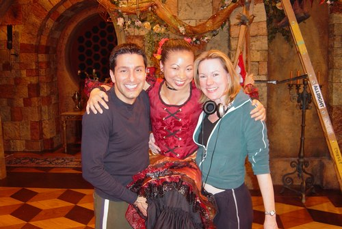 Lisa on the set of ABC/Disney's Once Upon A Mattress with Associate Choreographer Vince Pesce, and Director/Choreographer Kathleen Marshall