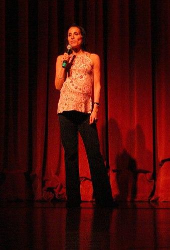 Rose Caiola gives a speech
