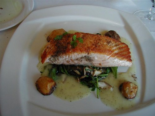 Grilled Salmon on Fresh Greens and Mushrooms