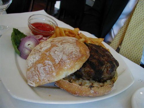 Grilled Hamburger and French Fries