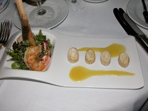 Salad of Roasted Hearts of Palm (Sugar Cane Shrimp, Laughing Duck Micro Greens and Passion Fruit Emulsion)