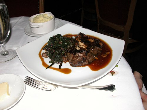 Prime Natural Sirloin (Fricassee of Wild Mushrooms, Braised Tivoli Greens and Foie Gras Sauce)