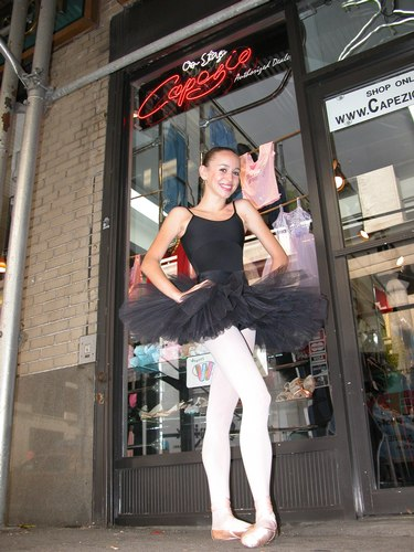 Black tutu by Sansha. Black cami leotard by Harmonie Bodywear. Modeled by Skylar Brandt. Available at <a href='http://www.onstagedancewear.com'>OnStageDancewear.com</a>.
