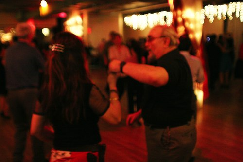 Dancing at Stepping Out Studio's Sundown Party Camera: ISO 1600, 1/125, 1.4, Curves adjusted in Photoshop
