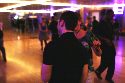 Swing 'n Salsa Party - West Coast Swing Room Camera: ISO 3200, 1/125, 2.2, Brightness adjusted using Curves in Photoshop