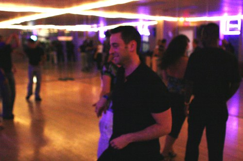 Swing 'n Salsa Party - West Coast Swing Room Camera: ISO 3200, 1/125, 2.5, Brightness adjusted using Curves in Photoshop