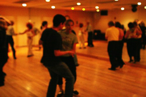 Swing 'n Salsa Party - Lindy Room Camera: ISO 3200, 1/125, 2.0, Brightness adjusted using Curves in Photoshop