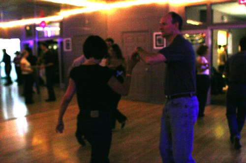 Swing 'n Salsa Party - West Coast Swing Room Camera: ISO 1600, 1/125, 2.8, Brightness adjusted using Curves in Photoshop