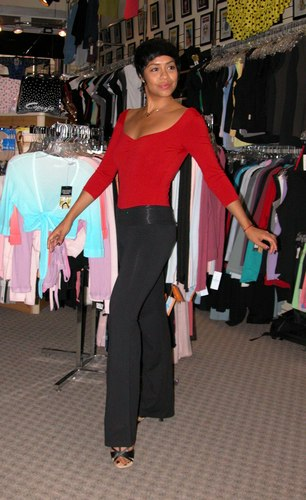 Sleek Red and Black Outfit. Modeled by Talia Castro-Pozo. Available at <a href='http://www.onstagedancewear.com'>OnStageDancewear.com</a>.