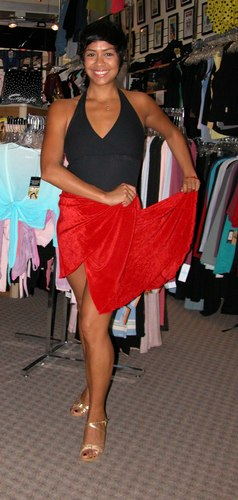 Black and Red Skirt Outfit, Priced to Move. Modeled by Talia Castro-Pozo. Available at <a href='http://www.onstagedancewear.com'>OnStageDancewear.com</a>.