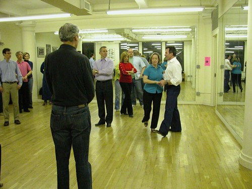 John Festa (in white shirt on right) teaches West Coast Swing at Dance Manhattan