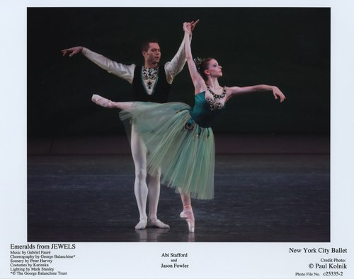 NYCB's Abi Stafford and Jason Fowler in Emeralds from Jewels