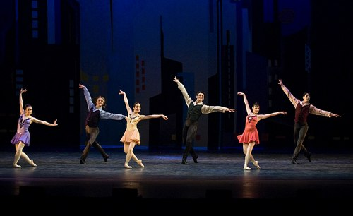 The finale of George Balanchine's 'Who Cares?' with New Jersey Ballet dancers Gabriella Noa-Pierson, Vitaly Verterich, Mari Sugawa, Andrei Jouravlev, Christina Theryoung-Neira and Sergio Amarante. 'Who Cares?' was staged by former NYCB principal Judith Fugate and presented by arrangement with the Balanchine Trust.