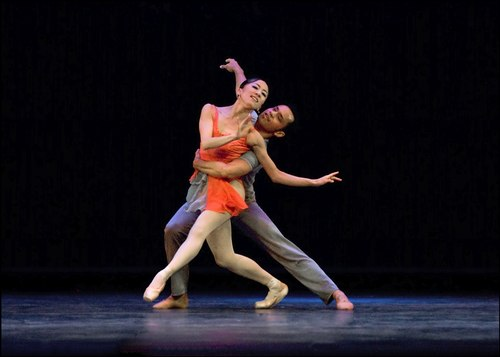 New Jersey Ballet dancers Mari Sugawa and Andres Neira in Alexander Proia's new ballet, 'Rhapsody in Blue.'