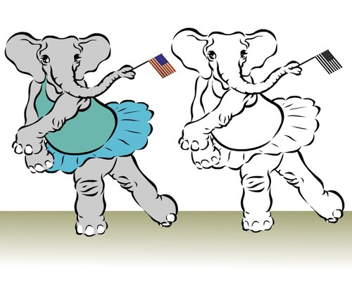 Two Ballet Elephants in Tendu Back