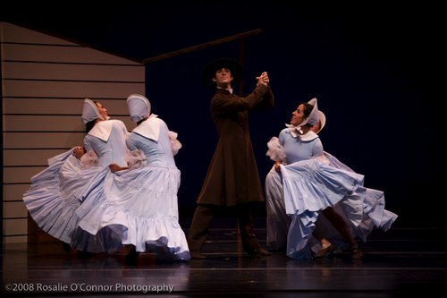 Martha Graham's Appalachian Spring Reverend (with long coat) – Evan Teitelbaum Followers (4 women) – Marla Phelan, Kelly Robotham, Yara Travieso and Allison Ulrich